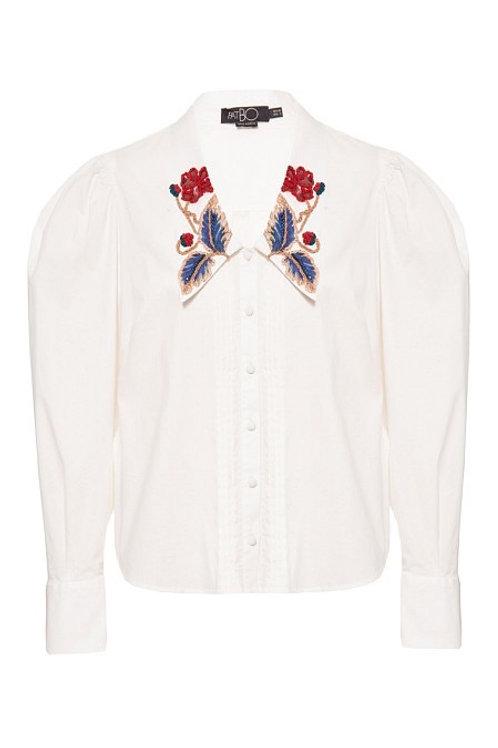 Camisa gola bordada tricoline span off white PatBo