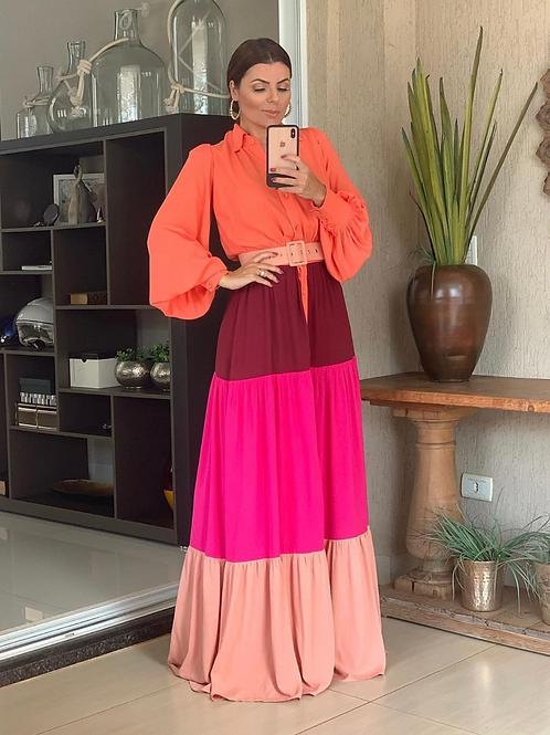 Vestido longo recortes coloridos Skazi Sclub