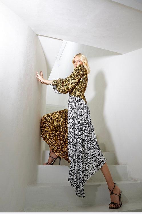 Vestido longo bicolor mini poás saia plissada manga longa Skazi sclub