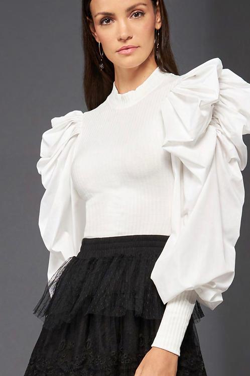 Blusa manga longa bufante tricot com tricoline off white Skazi Sclub