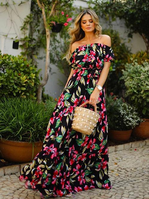 Vestido longo estampado Skazi Sclub Thassia Naves