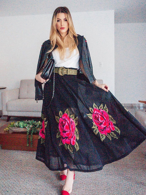 Saia longa em tricot rosas Skazi