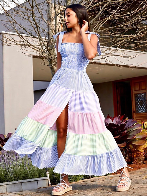 Vestido detalhes recortes e listras coloridas Skazi Sclub