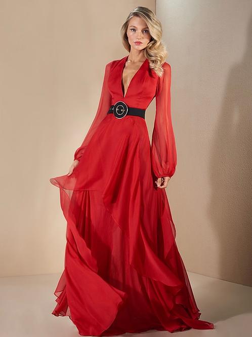 Vestido longo silky crepon babados Skazi vermelho