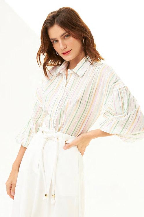 Camisa mangas bufantes off white com listras multicolor Skazi Sclub