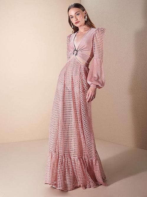 Vestido longo tricot detalhe argola rosa Skazi