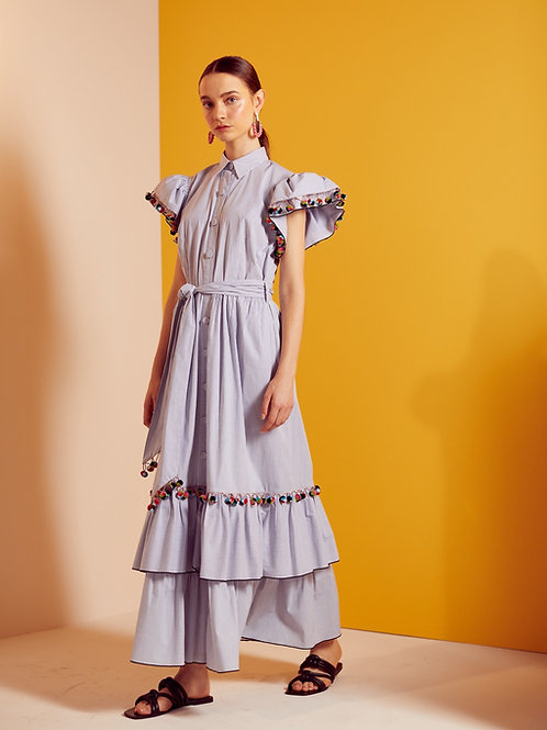 Vestido midi popeline com pompons coloridos Skazi off white e marinho