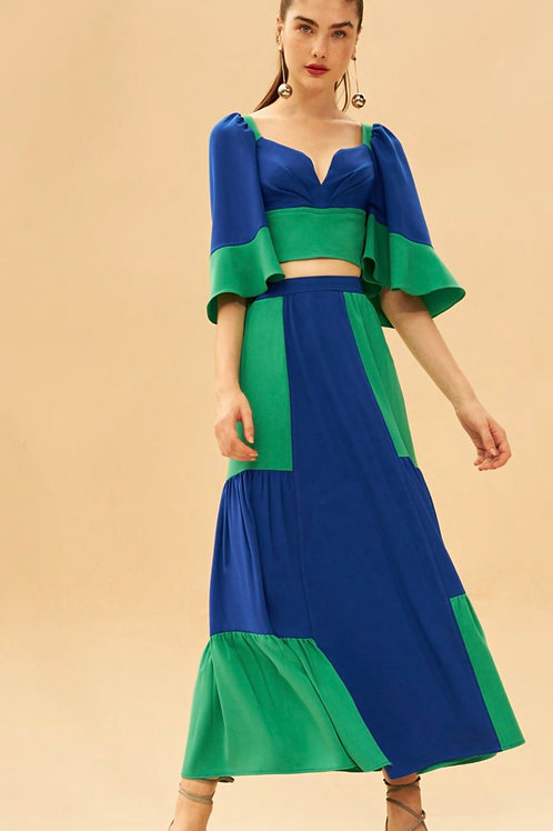 Conjunto de saia e cropped bicolor verde e azul Skazi Sclub