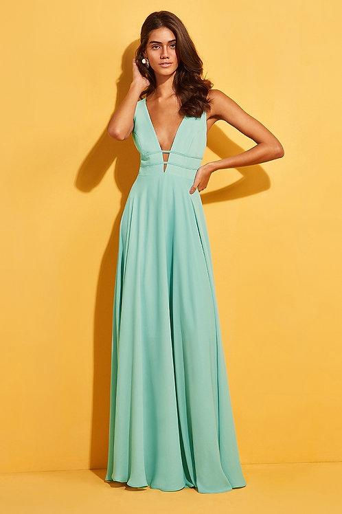 Vestido longo decote amarração Skazi tiffany/verde agua