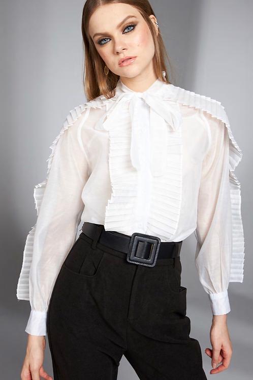 Camisa detalhe drapeado branca Skazi Sclub