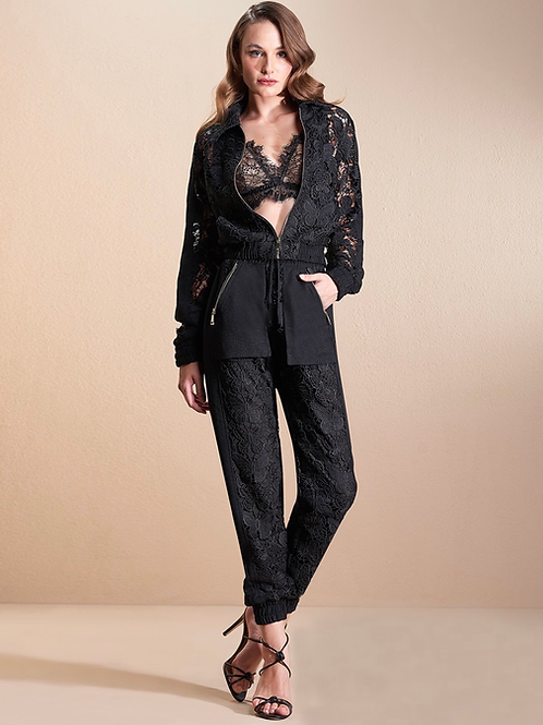 Conjunto de calça e jaqueta em guipir borboleta preto Skazi