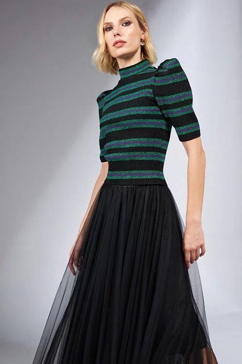 Blusa em tricot com lurex preto verde e roxo Skazi Sclub