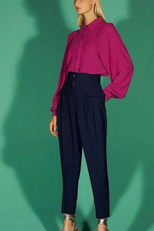 Calça cintura alta alfaiataria azul marinho - TD Tufi Duek