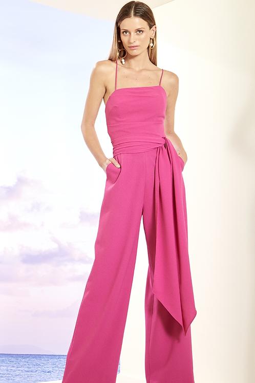 Macacão pantalona faixa pink Skazi
