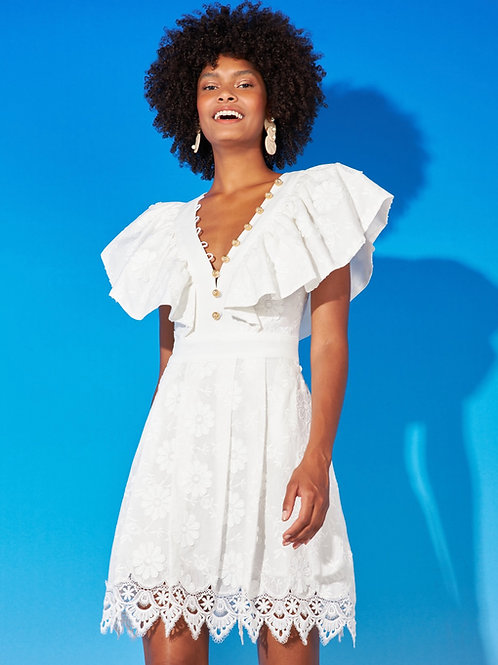 Vestido curto tecido bordado flores os white Skazi
