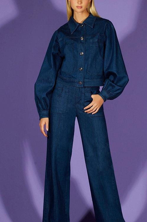 Calça pantalona jeans escuro - TD Tufi Duek