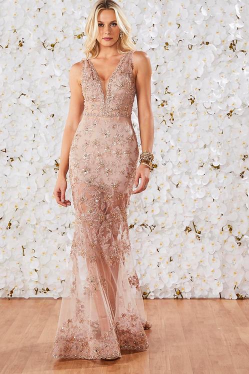 Vestido longo bordado em pedrarias rosê Fabulous Agilità