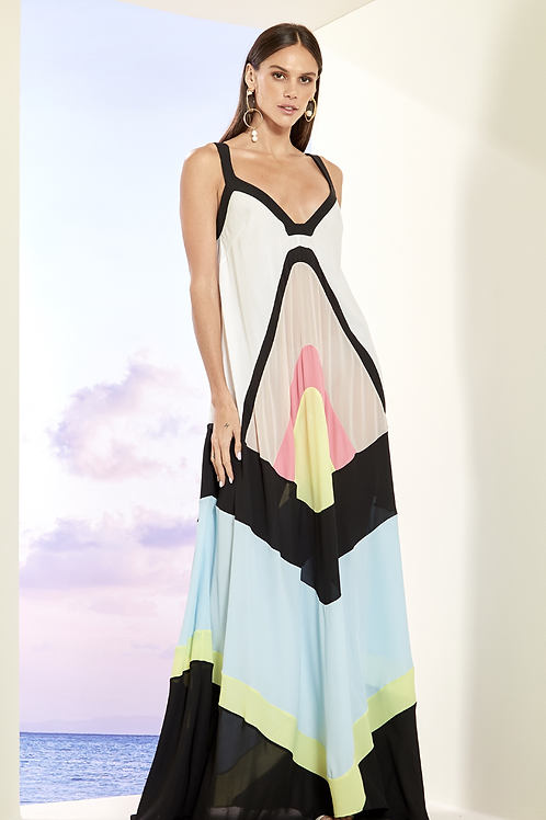 Vestido longo fluido recortes Skazi Thassia Naves Bali