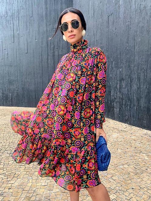 Vestido curto estampa Skazi Silvia Braz