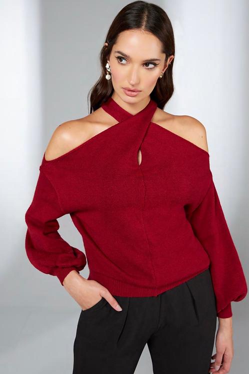 Blusa em tricot detalhe no torcido marsala Skazi