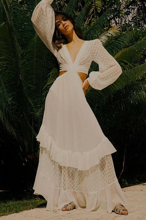 Vestido longo recortes off white PatBo