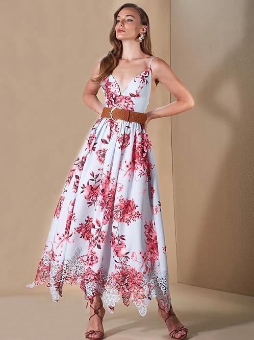 Vestido longo floral com renda Skazi