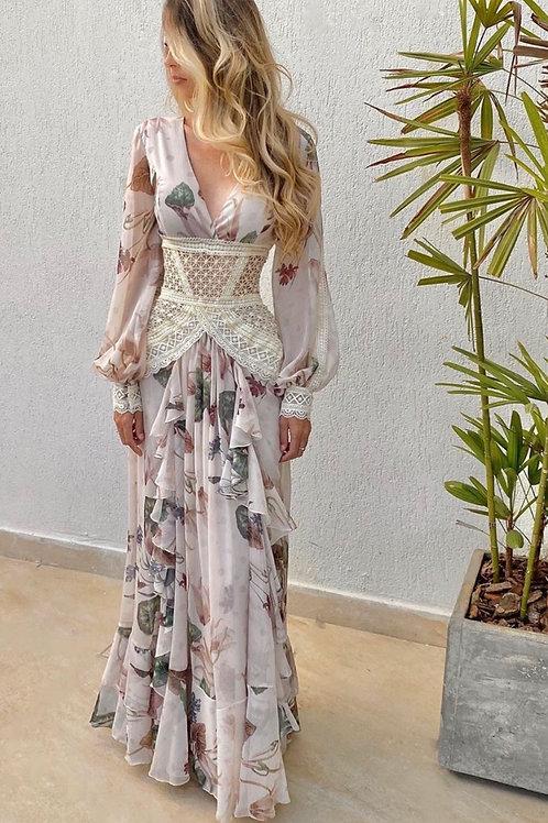 Vestido longo sophia plissê entremeio off white PatBo estampado
