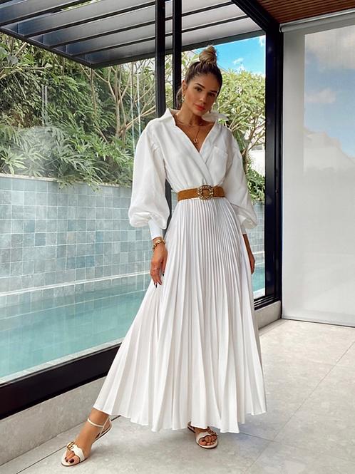Vestido plissado off white Skazi Thassia Naves