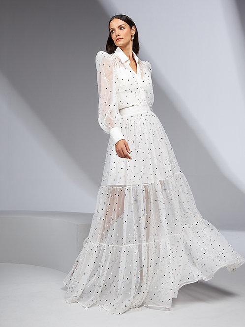 Vestido longo tule poa metalizado branco Skazi Sclub