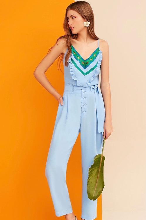 Conjunto de calça e blusa com detalhes em tricot azul e verde Skazi Sclub