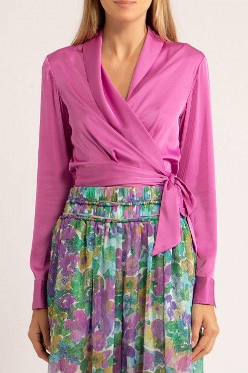 Blusa wrap cetim sensorial lanvin lilás PatBo