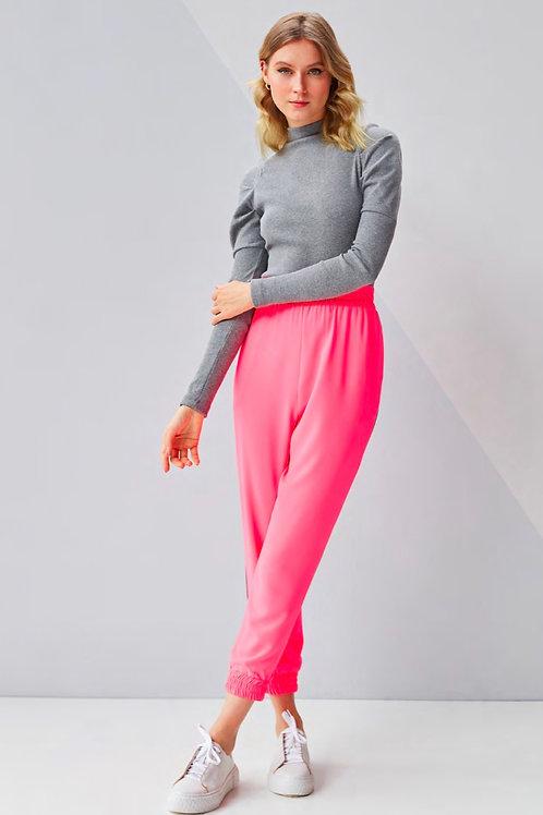 Conjunto rosa fluor calça jogger e blusa tricot Skazi Sclub