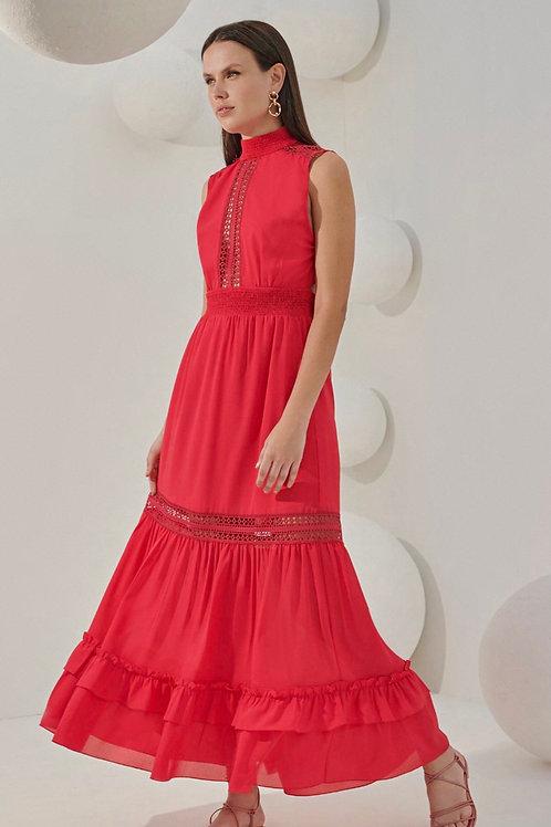 Vestido midi chiffon entremeios renda babados vermelho Skazi Sclub