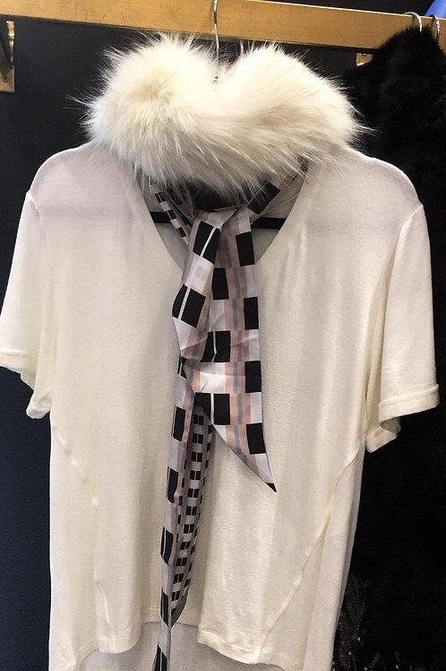 Gola de pele + lenço seda Animale - Off White