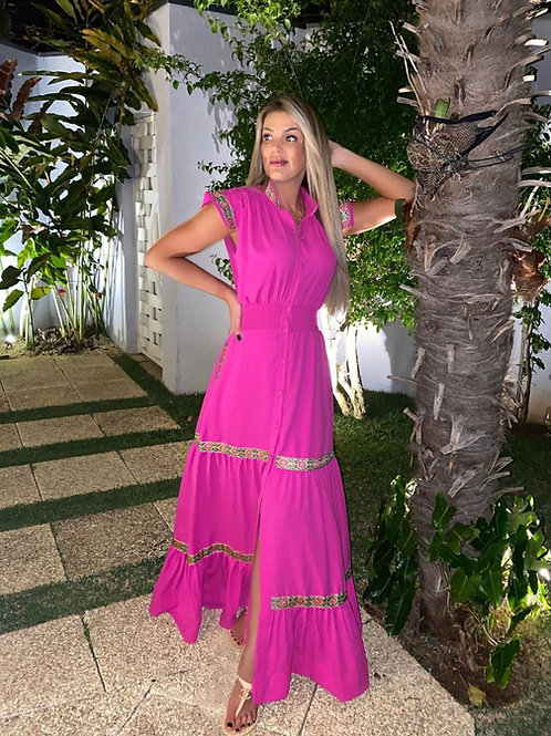 Vestido longo detalhes pink Skazi Sclub
