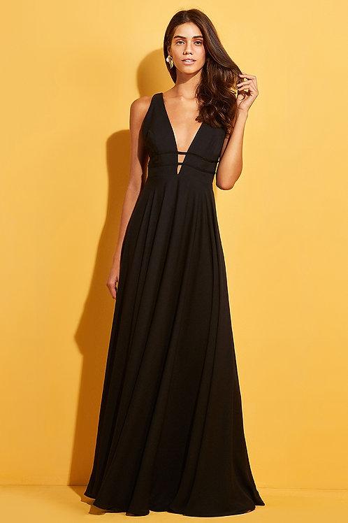 Vestido longo decote amarração Skazi Sclub preto