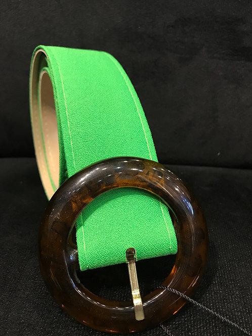 Cinto Skazi em crepe verde fluor e fivela de acrilico tartaruga