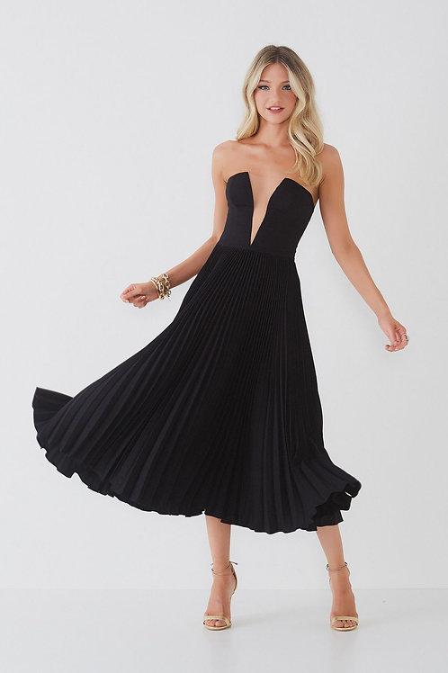 Vestido midi Gisele preto plissado tomara que caia Fabulous Agilità