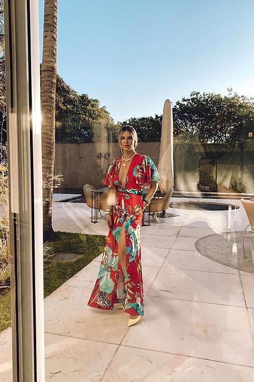 Vestido longo estampa floral detalhe faixa Skazi Sclub