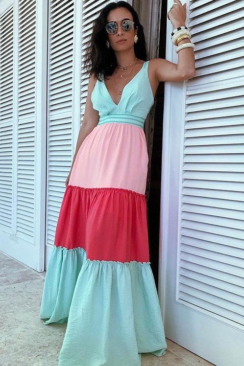 Vestido longo detalhe amarração Skazi Sclub Silvia Braz