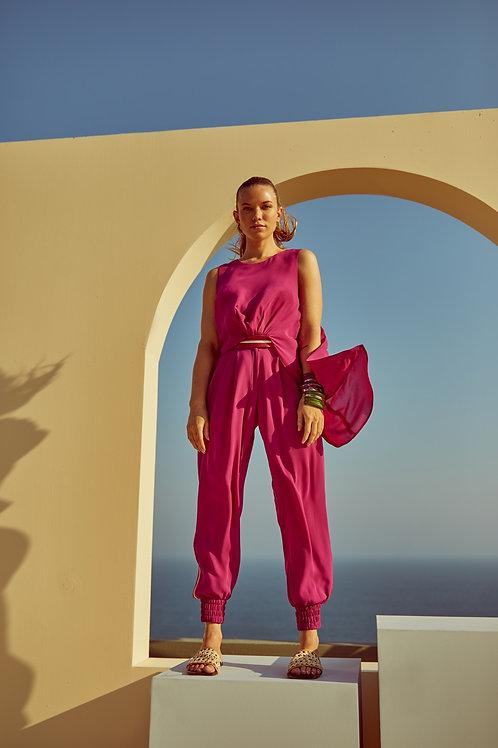 Conjunto de calça e blusa crepe com detalhes em tricot Skazi Sclub rosa