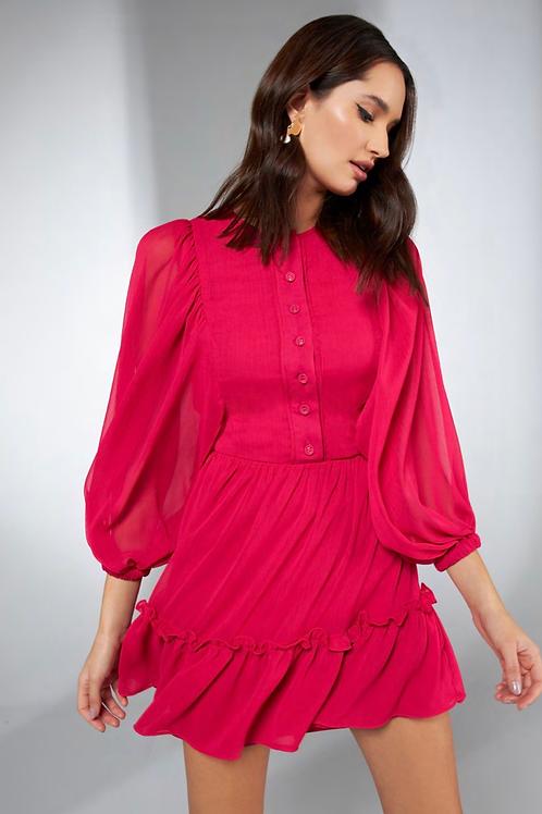 Vestido curto detalhe manga pink Skazi Sclub