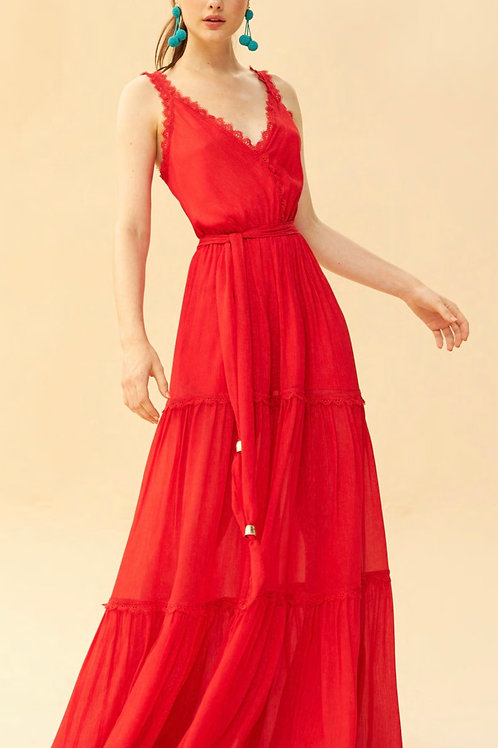 Vestido longo chiffon com fios de lurex vermelho Skazi Sclub
