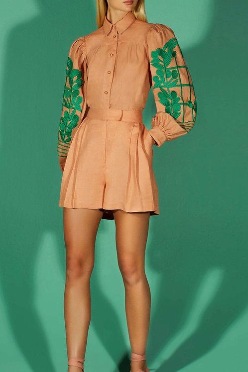 Conjunto blusa bordada em linha e shorts nude - TD Tufi Duek