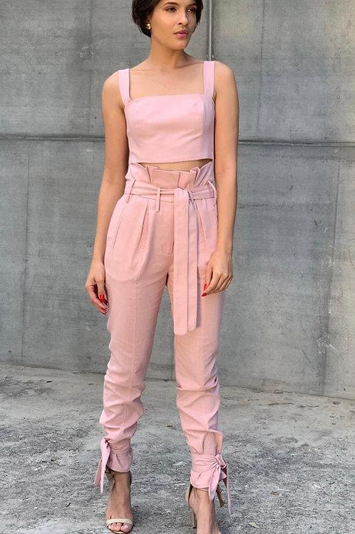 Conjunto calça e top rosa claro Skazi Sclub