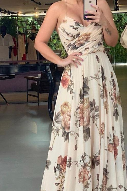 Vestido detalhe drapeado estampa Anne Fernandes