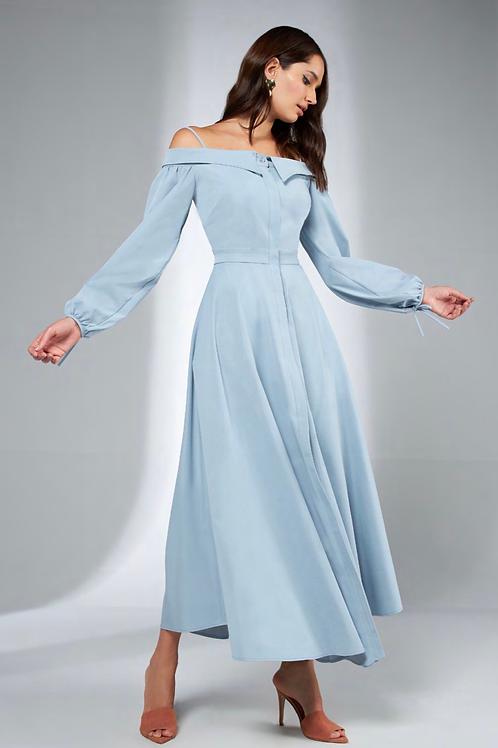 Vestido mídi baby blue Skazi Sclub