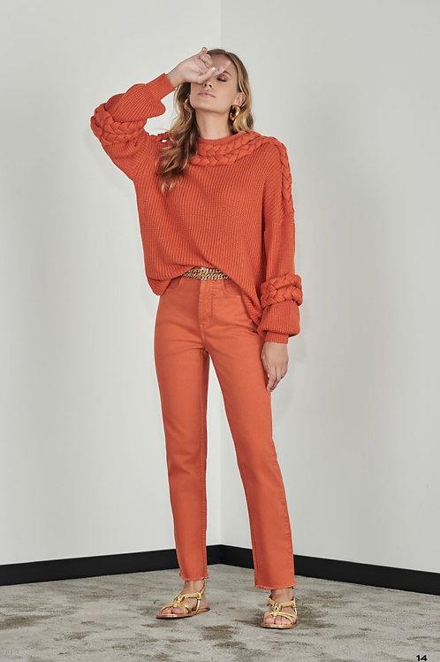 Calça brim skinny laranja - Iorane