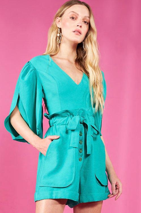 Conjunto blusa e short clochard verde Skazi Sclub