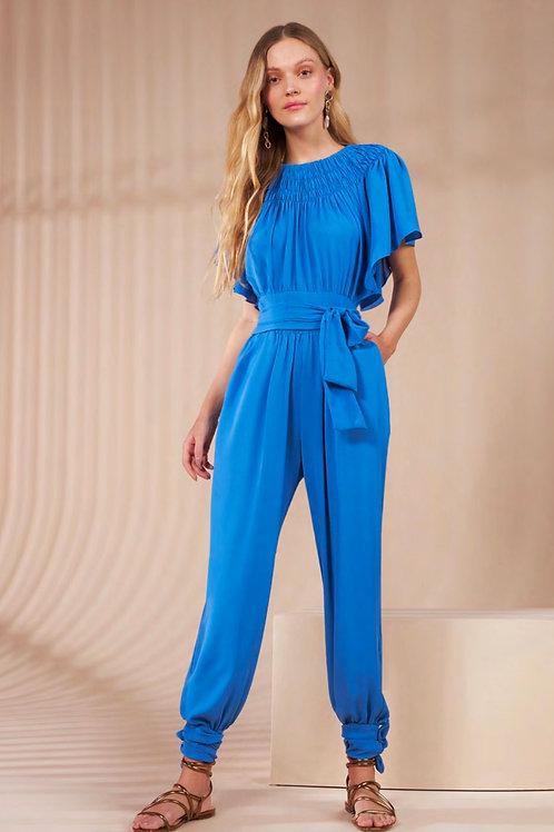 Conjunto blusa e calça detalhe drapeado azul Skazi Sclub